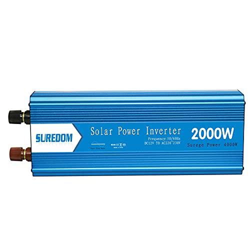 Inversor de Corriente Onda Sinusoidal Pura DC 12V a 110V AC Convertidor de Energía de Alta Potencia Para El Hogar Dos Ventiladores de Refrigeración Y Pantalla LCD Adaptador(Size:4000W,Color:12Vto110V)