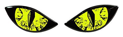 Bike Label 910061 Aufkleber 3D Böse Augen für Auto Motorrad Helm - Neon gelb