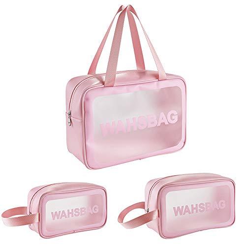 Tingz 3 in 1 sacchetti di trucco Clear Borsa da Viaggio,Cosmetici Trousse Trasparente,Toiletry Bag,Beauty Case da Viaggio,Borsa da Trucco per Donna Impermeabile Doccia Wash Bags Organizer con Zip