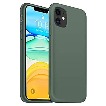 OUXUL iPhone 11 Case,iPhone 11 Liquid Silicone Gel Rubber Phone Case,Compatible with iPhone 11 Case Cover 6.1 Inch Full Body Slim Soft Microfiber Lining Protective Case Forest Green