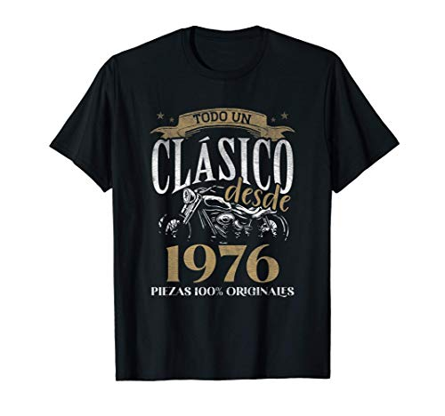 Nacido En 1976 - 45 años Cumpleaños Moto Biker Hombre Motero Camiseta