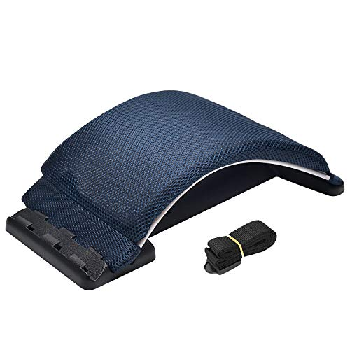 Multi-Level Magic Back Stretching Device with Memory Foam Cushion,Back Lumbar Support for Office Chair and Car Lumbar Traction Device for Back Pain Relief(Navy Blue)