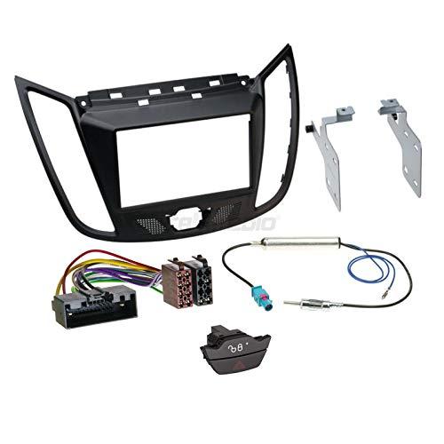 Ford C-Max DXA a partire da 10 2-DIN - Set di montaggio per autoradio con adattatore per antenna, cavo di collegamento radio, accessori e mascherina per autoradio/telaio di montaggio nero