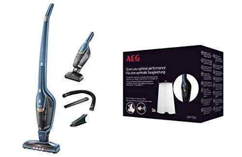 AEG CX7-2-I360 2in1 Akku-Staubsauger + AEF150 Filterset (beutellos, inkl. Tierhaardüse, bis zu 45 Min. Laufzeit, 180° Drehgelenk, Bürstenreinigungsfunktion, LED-Frontlicht, Innenfilter)