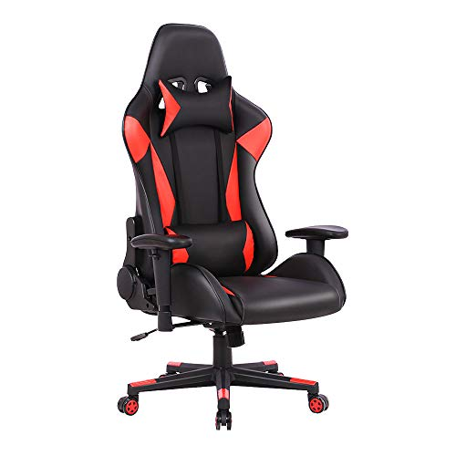 Gaming Chair High Back Reclining Computer Desk Chair Ergonomic Backrest Executive Office Chair, Red