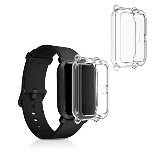 kwmobile 2 Pack de Fundas Compatible con Fitness Tracker Huami Amazfit Bip/Bip Lite - Case en Transparente