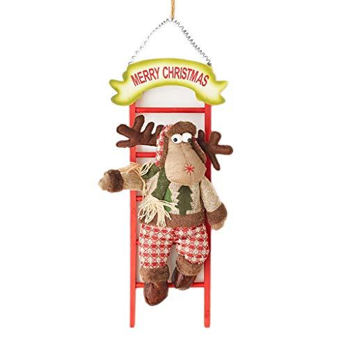 HXF- Kerst Decoratie Hanger Decoratie Houten Trappenkast Ladder Oude Man Sneeuwman Elk Deur Opknoping Raam Decoratie vreugdevolle