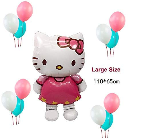our fantasy time der Märchenland,13 er Set Luftballon, XXL super Süß Hello Kitty mit 12St, Folienballon, Helium Ballons, Deko Luftballon, Aluminiumfolie Ballons.