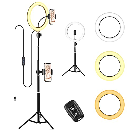 """10"""" LED Selfie Ring Light, Dimmable Ring Light with 3 Light Modes & 11 Brightness and Tripod Stand Phone Holder for YouTube TikTok Photography Compatible with iPhone Android, Black"""