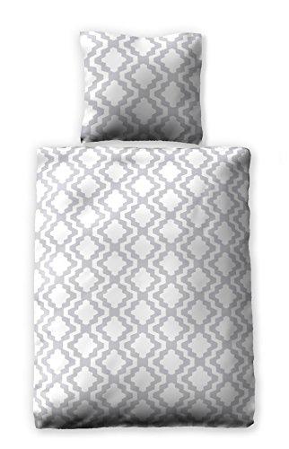 jilda-tex Seersucker-Bettwäsche Sommerbettwäsche Tesselation 135x200 cm Ökotex-100 100% Baumwolle mit Reißverschluss (135 x 200 cm)