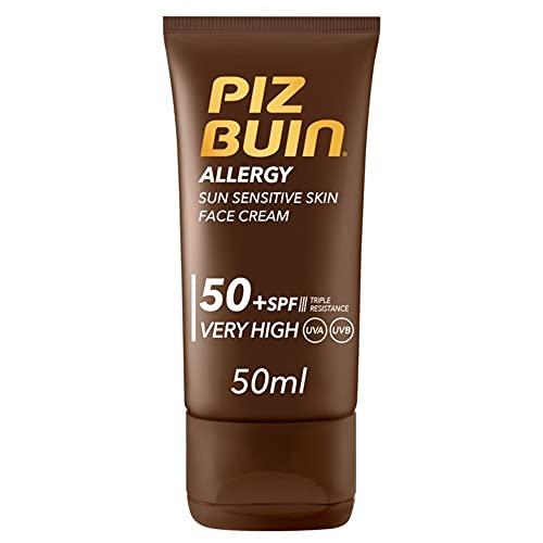 PIZ BUIN, Crema Solare Viso per pelli sensibili, Allergy, 50+ SPF, Protezione Solare Molto Alta,Filtro Solare UVA UVB, con Antiossidante, 50ml