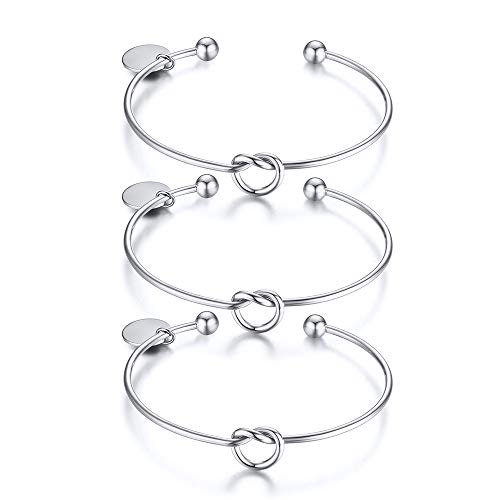 XUANPAI Set of 3 Party Friendship Bridesmaid Wedding Gift Jewelry Love Knot Bangle Bracelet Cuff Stretch Bracelet for Bridesmaid Proposal