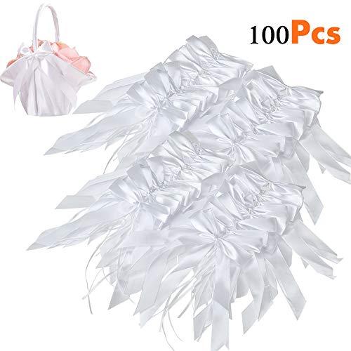 100 Pcs Lazos De Blanco Satén Decoraciones