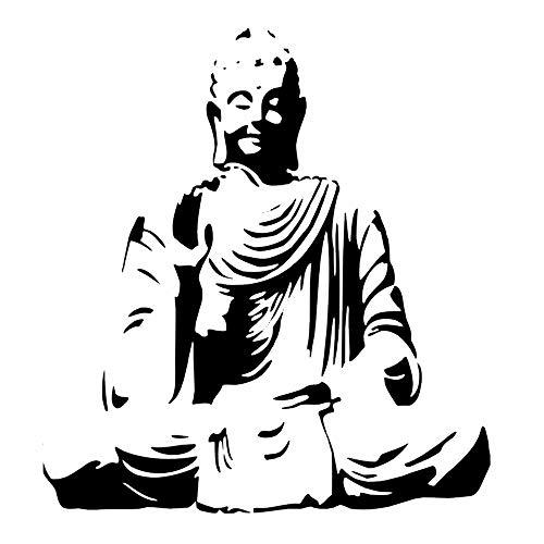 Sitting Buddha Budda wiederverwendbare Schablone A3 A4 A5 & größere Größen Orientalische Reise / N90 (PVC wiederverwendbare Schablone, A3 Größe – 297 x 420 mm, 29,7 x 41,9 cm)