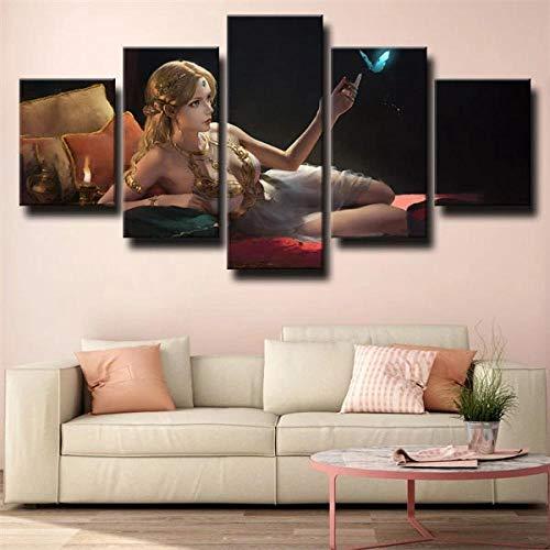 GHYTR Mujer Sexy Fantasy Lienzo 5 Piezas Abstracto Pared Arte Pintura Grandes Cuadros Marco 150×80Cm Cartel Pared Decoracion Hogar Murales Pared Sala Dormitorio Regalo