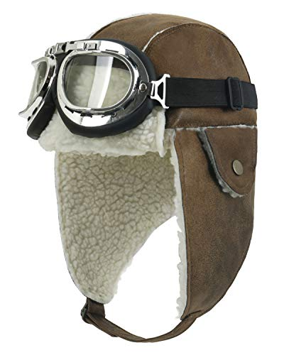 ililily Aviator Hat Winter Snowboard Fur Ear Flaps Trooper Trapper Pilot Goggles, Light Brown/White