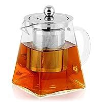 bonnacc teiera in vetro teiera da con filtro infusore in acciaio inossidabile resistente al calore perfetto per tè e caffè (500ml)
