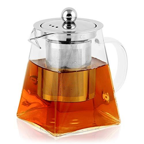 BONNACC Tetera de Vidrio 500ml con Filtro Infusor de Acero Inoxidable Resistente al Calor, Té y Café