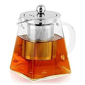 BONNACC Tetera de Vidrio 700ml con Filtro Infusor de Acero Inoxidable Resistente al Calor, Té y Café (700ml)
