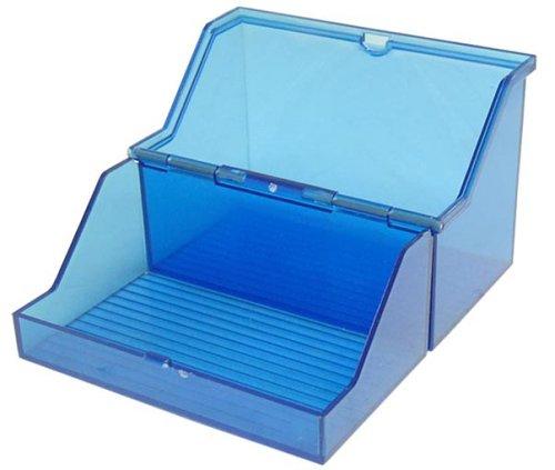 Pequeño fichero A7horizontal Para 300tarjetas Color: Azul Translúcido Cuchillos no incluidos) Poliestireno