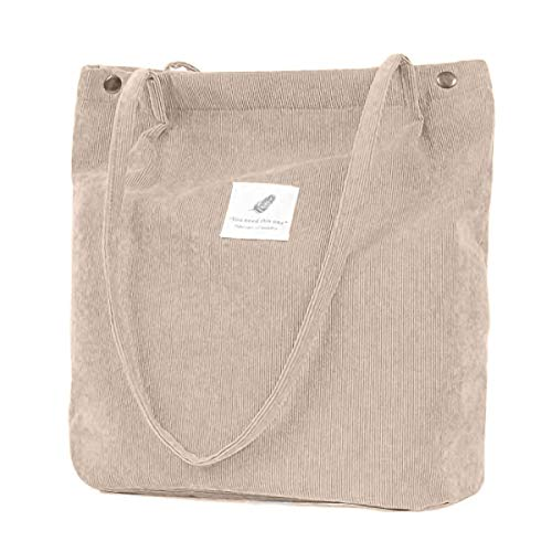 ZhengYue Handtasche Umhängetasche Damen groß Cord Tasche Damen Handtasche Shopper Damen für Uni Arbeit Mädchen Schule (Beige)