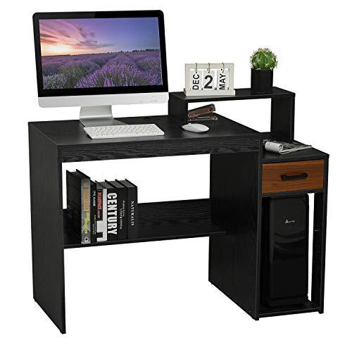 Itaar Escritorio pequeño para ordenador, de madera, con cajón de almacenamiento para espacios pequeños, muebles para el hogar y la oficina, color negro