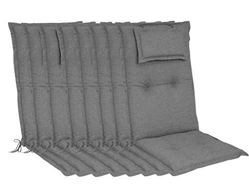 elGiga Cojín para silla de jardín, 8 unidades, color gris, 120 x 50 x 8 cm, con reposacabezas acolchado, de alta calidad, lavable y fácil de limpiar.
