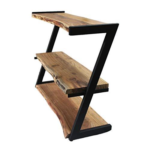 Regal aus schwarzem Metallgestell mit Massivholzbrettern handgefertigt, Schuhregal, Massivholzregal