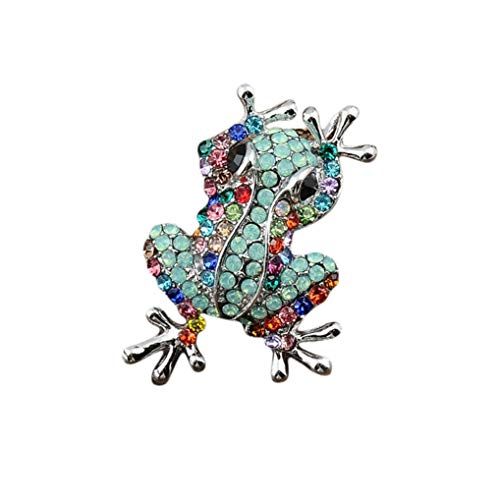 Timesuper Cute Animal Shape Brooch Pin Personality Frog Rhinestone Brooch Pin Pendant for Women Jewelry Gift Green
