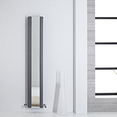 Hudson Reed Design Heizkörper mit Spiegel 1600 x 265 mm 789W Anthrazit Vertikal Doppellagig Stahl Heizkörper Sloane