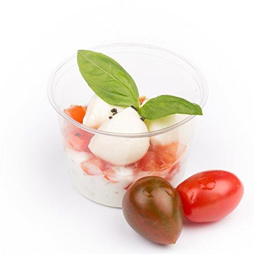 Plantvibes edle Einwegbecher, kompostierbar & CO2-neutral - 100 Stück der Größe 120 ml - Bio Einweg-Geschirr aus PLA, perfekt als Finger-Food Snack-Schalen, Dip-Schalen oder Dessert-Becher
