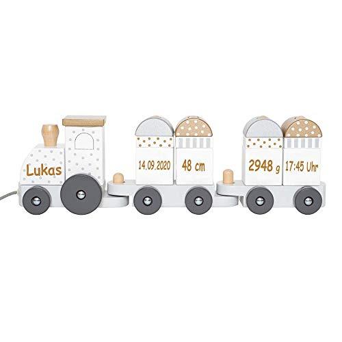 Elefantasie Tren de madera con nombre y fecha de nacimiento, grabado en plata