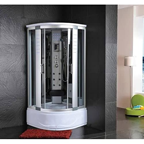 Bagno Italia Cabina de hidromasaje de 90 x 90 cm, cabina semicircular con bañera, 1 asiento, baño turco, masaje plantar, luces LED I111