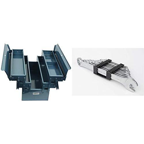 Mannesmann Montage Werkzeugkasten, 5-tlg, M 211-430 & M19652 Gabelringschl DIN 3113 Satz, 12-tlg