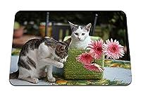 22cmx18cm マウスパッド (子猫猫バスケット花) パターンカスタムの マウスパッド