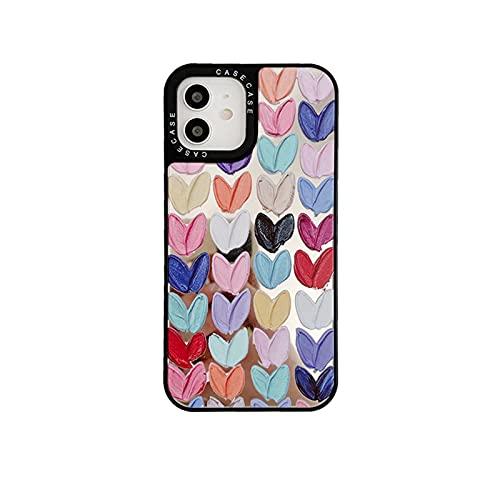 Lindo pintura al óleo colorido amor flores maquillaje espejo teléfono caso para iPhone 12 11 Pro X Xs Max XR 7 8 Plus SE2 suave borde cubierta-1-para iPhone 6