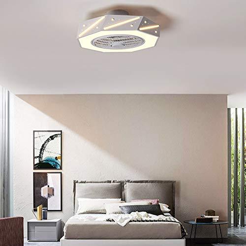 Plafond Ventilator Met Ventilator Lamp Verstelbare Wind Speed Verlichting Children's, Dimbare Remote Control 46W Ultra-Quiet Woonkamer Slaapkamer Fan Lamp,White