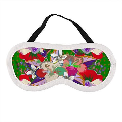 Heldere Mooie Hibiscus Bloemen Leuke Bloemenprint op Een Groene Slaapoog Masker Slapende Maskers Blinddoek Katoen Oog Kussen Zacht voor Vrouwen Mannen Reizen Naps Gepersonaliseerd