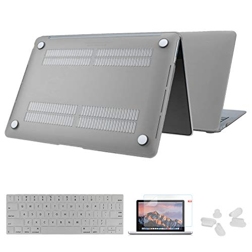 MacBook Pro 15 Inch Case - 2018 2017 2016 Released A1990 / A1707, Laptop Hard Shell Protector and Keyboard Cover for Apple Mac Book Pro 15' with Touch Bar and Touch ID, Translucent Matt Gray