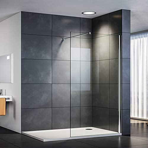 SIRHONA Paroi de douche à l'italienne 90 x 190 cm avec barre de stabilisation porte douche et 8mm verre NANO cabines et portes de douche