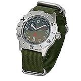 Vostok Komandirskie K-35 Reloj militar ruso, verde K35 con correa zulu 2415 / 350501