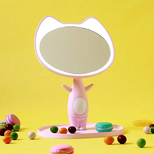 L.W.S Lámpara de Escritorio Lámpara Gato led Historieta Lindo luz Espejo Espejo Inteligente Maquillaje Espejo portátil Ligero Belleza Escritorio Recargable Maquillaje luz Espejo (Color : Pink)