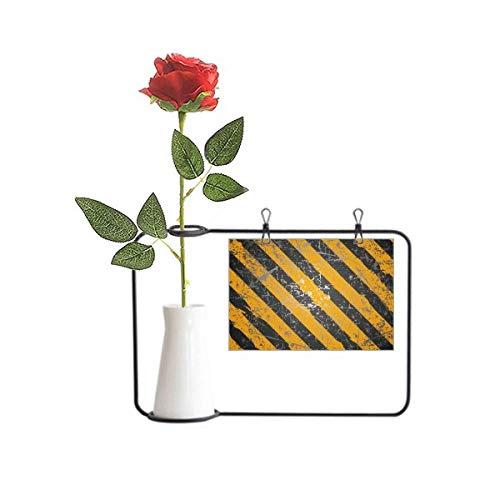 OFFbb-USA Logo Negro y Amarillo Advertencia Artificial Flor De Rosa Colgante Jarrones Decoración Botella