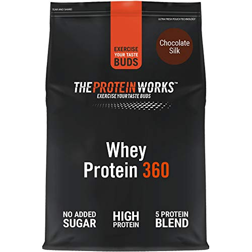 THE PROTEIN WORKS Whey Protein 360 Powder | High Protein Shake | No Added Sugar and Low Fat | Protein Blend | Chocolate Silk | 600 g