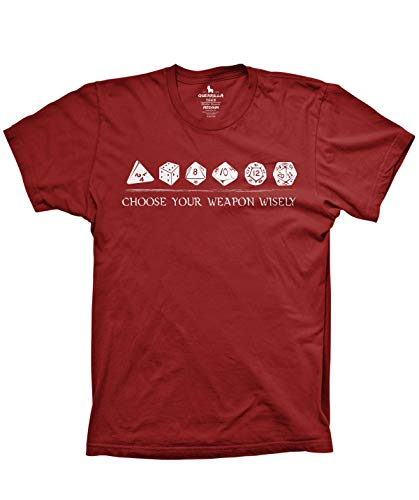 Guerrilla Tees Choose Your Weapon Dice Shirt Funny Tshirts Dungeons and Dragons Shirt, Cardinal, Small