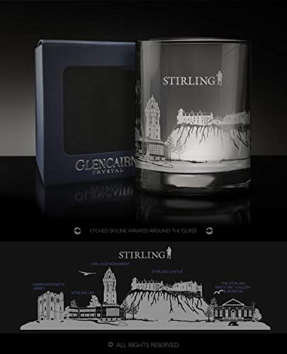 Glencairn Kristallglas für Whisky/Spirituose, mit Stirling-Skyline, in Geschenkbox, 312 ml