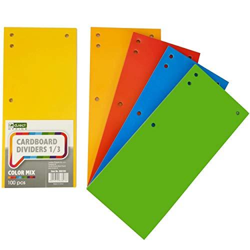 D.RECT 100er Pack Karton-Trennstreifen. 11x24cm Trennlaschen Trennblätter Ordner Register 160g/m² 5 Farben: 20 Stück je Farbe, 009783