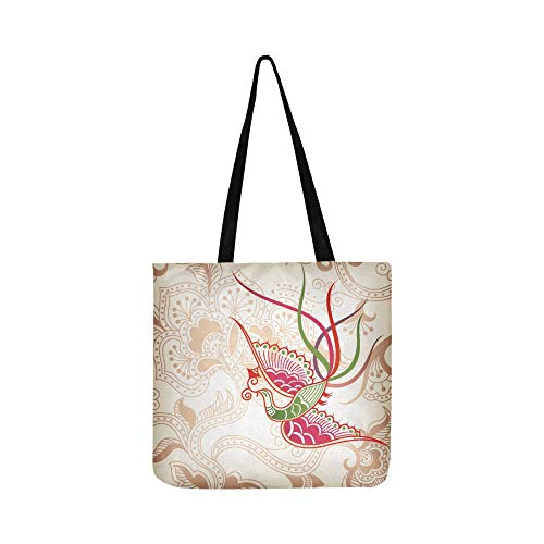 Grocery Shopping Bags Bright Phoenix And Colorful Feathers Durable Reusable Canvas Multi Purpose Best Grocery Bags For Men Women Shopping Groceries Books