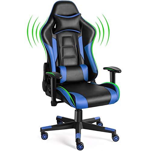 Twomaples Silla de videojuegos, silla de oficina de carreras para videojuegos, asiento ergonómico con respaldo – altura y reposabrazos ajustables reclinables, basculante giratorio con reposacabezas y almohada lumbar, silla de deportes electrónicos (azul)
