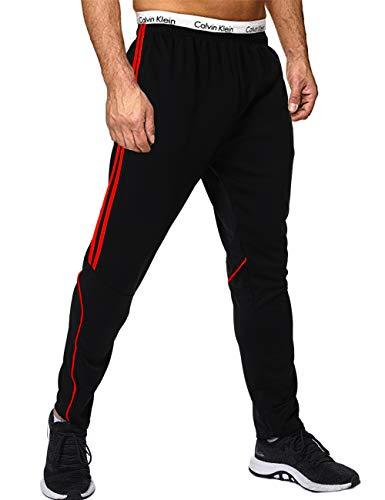 FITTOO Herren 2 Gestreift Sporthose Streifen Lange Trainingshose mit Tunnelzug Reißverschluss am Beinabschluss Jogging-Hose für Laufen Fitness Trainierung Schwarz-Rot M